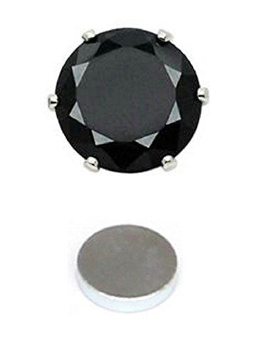 1 clip redondo magnético negro en pendientes de moda para hombres y niños – 8 mm