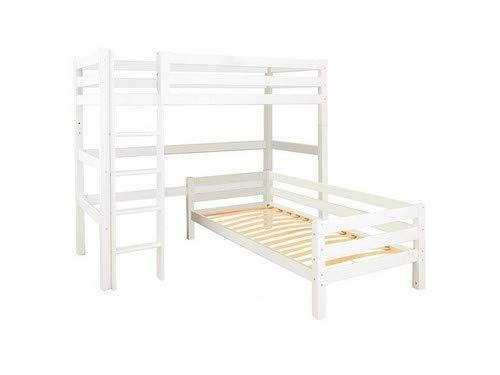 Hoppekids Madera de pino maciza, incluye somier y escalera recta, madera, color blanco, 209 x 216 x 177 cm