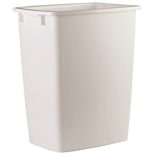 RHP2806TPWHI Open-Top Wastebasket, Rectangular, Plastic, 9 gal, White