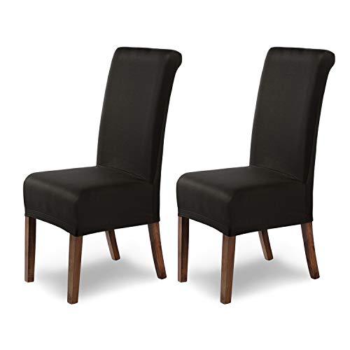 SCHEFFLER-Home Stretch Stuhlhusse Marie | 2er Set elastische Stuhlabdeckungen mit Fleckschutz | Stuhlhussen Schwingstühle | Spannbezug mit Gummiband | Elegante Stuhlbezüge