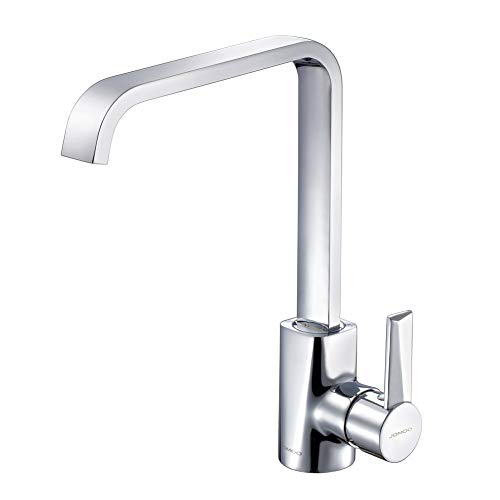 JOMOO Best Commercial High Arc Square Waterfall Kitchen Sink Faucet Solid Brass Deck Mount Single Handle Modern Hot&Cold 360 Degree Swivel Spout Basin Mixer Water Tap, Chrome