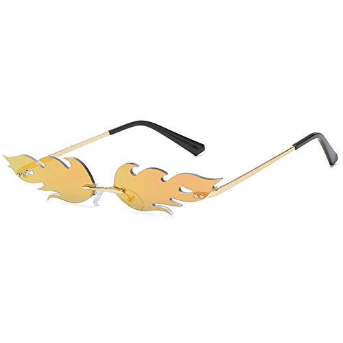 Aisoway Llama del fuego Gafas de sol Hombres Mujeres sin rebordes de onda Gafas de sol Gafas estrecha Gafas de sol