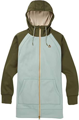 Burton Damen Crown Long Full Zip Long Sleeve Athletic-Hoodies L Aqua Gray/Keef