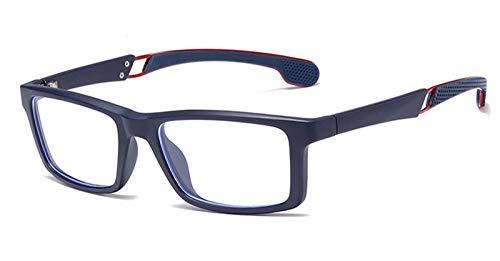 RuaRua Bloqueo Luz Azul Gafas,Anteojos De Ordenador De Moda, Anteojos Rectangulares Ópticos para Mujer, Montura De Anteojos Tr90 para Hombre, Anteojos para Juegos De Lectura con Fatiga Ocular, Azul