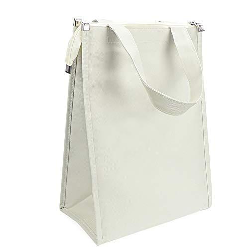 Coolty herbruikbare lunchpakket, geïsoleerde boodschappentas, waterdicht, ruime opvouwbare picknickkoeltas, leuke handtas voor vrouwen, volwassenen, studenten, wit