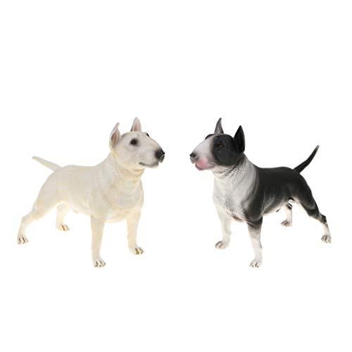 2X Hund Modell Dekofigur Gartenfigur Gartendeko mit Weiß Bullterrier Figur, aus Kunststoff