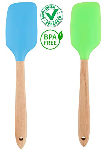 DOCOSS- Pack of 2-Silicone Wooden Spatulas for Cooking Set Premium Quality Non Stick Heat-Resistant Silicon Spatulas Wooden Handle for Cake Mixer,BBQ, Baking & Mixing Home Kitchen Tools(Multicolour)