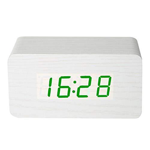 Alarm Clock for zware Sleepers Snooze Night Light Voice Control Silent 3 set van Alarm Thuis Bedroom Nachtkastje Houten Stil Ontwerp (Color : A, Size : 12.3cm*4.5cm*6.6cm)