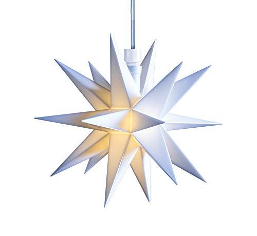 3D LED Stern Ø 12 cm Weihnachtsstern Ministern Stern Fenster Deko innen 5m Kabel + Trafo von Dekowelt (Weiß)