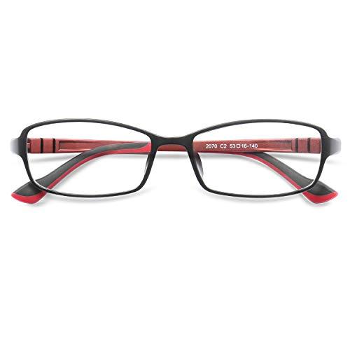 KOOSUFA Rechteckige Retro Brillengestelle Nerdbrille Herren Damen Brille Ohne Sehstärke Streberbrille Optische Stärke Rahmen Brillenfassung mit Etui (Schwarz+rot)