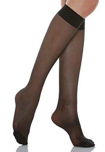 Relaxsan Basic 700[N] (1 Par - Negro, tg.5) Medias a la rodilla 70 Den de compresión graduada sin talón 12-17 mmHg