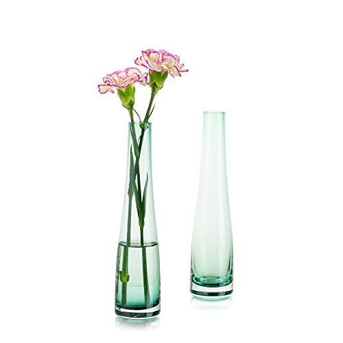 Florero De Vidrio para Flores, 2 Piezas Verde Oscuro Florero Simple Bud Botellas Altas Y Delgadas De Cuello Estrecho para El Hogar Sala De Estar Oficina Decoración Interior Mesa