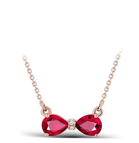 AYDOME Women Necklace Jewellery, 0.9ct Ruby Double Drop Diamond 18K Rose Gold Purple Brides Girls