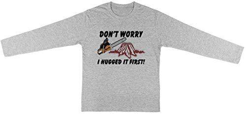 Don'T Worry I Hugged It First Kinderen Unisex T-shirt Lange Mouw Jongens Meisjes Grijs Kids Unisex T-shirt Long Sleeve Boys Girls Grey