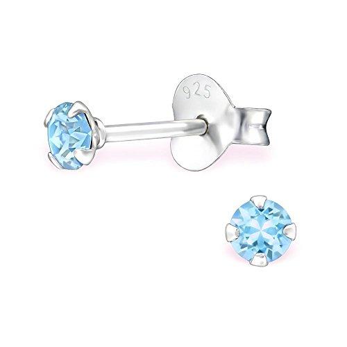 Bungsa Aquamarine blaue Kristall-Ohrstecker mit 3mm SWAROVSKI Kristall rund aus 925 Silber - blaue Ohrringe mit SWAROVSKI-Stein