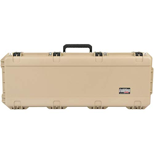 SKB Cases iSeries 4214 Portable Waterproof Hard Plastic Exterior Parallel Limb Bow Crossbow Case with Wheels and TSA Approved Latches, Tan