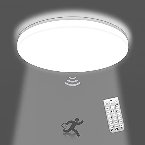 Oeegoo Plafón LED de Techo Regulable con Sensor de Movimiento 18W 1800LM, Lampara de techo Redonda con Control Remoto, IP54 lampara impermeable, Lampara Techo Luz para Baño Pasillo Balcón, 4000K