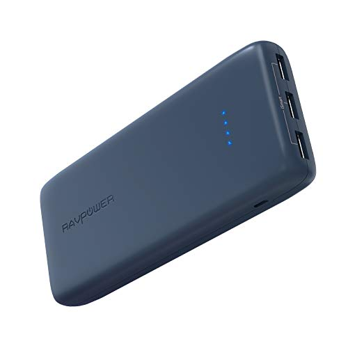 Portable Charger RAVPower 22000mAh Power Bank 22000 Battery Pack Charger 5.8A Output 3-Port (2.4A Input, Triple iSmart 2.0 USB Ports, Li-Polymer Battery) Battery Charger for Smartphone Tablet - Blue