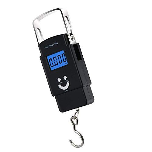 Flybiz Balanzas electrónicas de pesaje electrónico,110lb / 50kg Balanzas electrónicas digitales de pesca de gancho colgante con escala de cinta métrica, 2 pilas AAA incluido,pantalla LCD.
