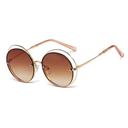 AMFG Marco redondo Gafas de sol con incrustaciones de diamante para hombres y mujeres Tecnología de moda Templo de metal Gafas de sol Gafas de sol Viajes de playa al aire libre (Color : A)
