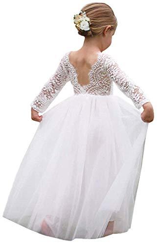 Girl Toddler Full-Length Straight Tulle Tutu Lace Back Party Flower Girl Dress (4-5 Year, Sleeve-White)