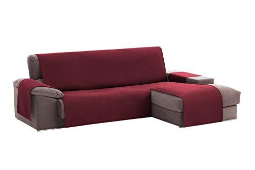 Textilhome - Funda Cubre Sofá Chaise Longue Adele, Protector para Sofás Acolchado Brazo Derecho. Tamaño -240cm. Color Rojo (Visto DE Frente)