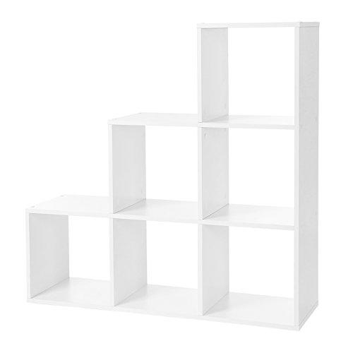 VASAGLE LBC63WT - Libreria, Scale, 6 Scomparti a cubo, mensola per Esposizione in Legno, scaffale Indipendente, 97,5 x 97,5 x 29 cm, Colore: Bianco