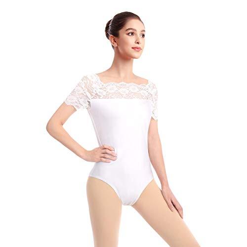 OBEEII Damen Spitze Ausschnitt Kurzarm Spandex Bodysuit Ballett Gymnastik Tanz Body Trikot Tanzkleidung