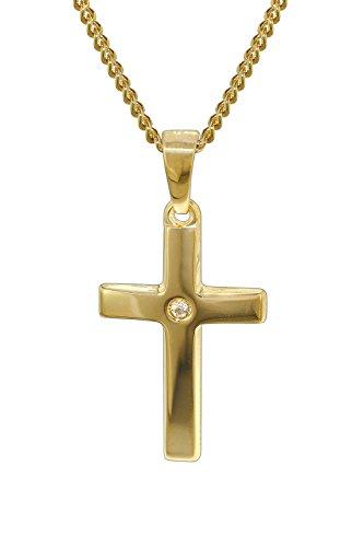 trendor Gold Kreuz 585 mit 40 cm goldplattierter Kette Damen und Herren Halskette, Gold Anhänger, Kreuz Anhänger aus Echtgold, Geschenkidee, mit Zirkonia 35799