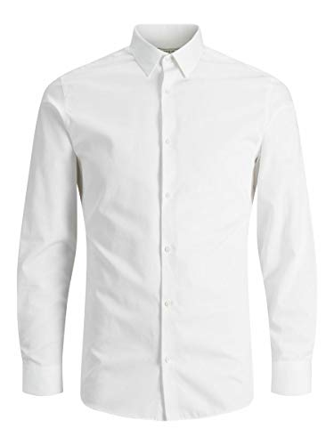 JACK & JONES JPRNON Iron Shirt L S Noos Camicia Formale, Bianco (White Fit:Slim Fit), Medium Uomo