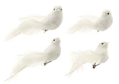 MIK funshopping decoratieve vogels set met clip wit glinsterend 15cm bruilofts-tafel-kamer-decoratie