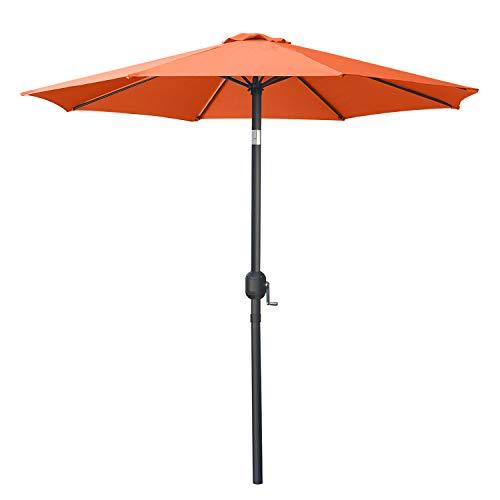 ABCCANOPY 270cm Sonnenschirm im Freien Wasserabweisende Bespannung -Gartenschirm Marktschirm,Sonnenschutz,orange