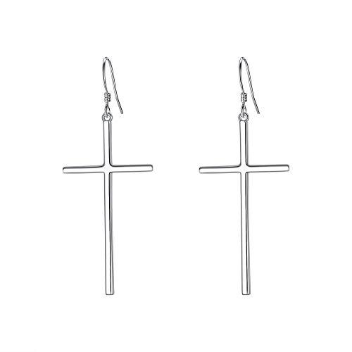 EVER FAITH 925 Sterling Silver Cross Earrings Long Dangle Hook Earring Minimalist Church Jewelry for Women, Girls