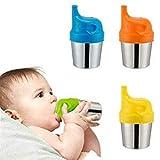 Madholly 4 Pack Edelstahl Trinkbecher mit 4 SilikonTrinkdeckeln für Babys und Kleinkinder - 170g doppelwandige Isolierbecher und BPA freie Silikondeckel für Heim und Outdoor Aktivitäten