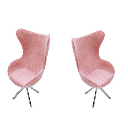 Harilla 2PCS 1:12 Dollhouse Miniature Office Swan Chair Mobili per La Casa Set Decor