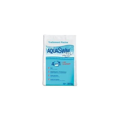 AQUASWIM ACTI + Pastiglie di sale stabilizzato multifunzione per piscina- sacchi da 25 kg