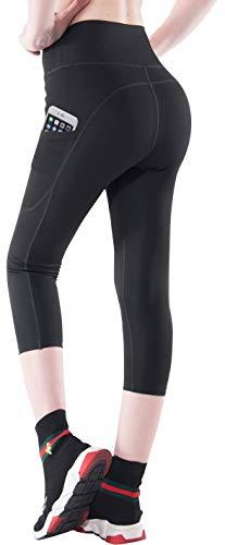 Abodhu Women's High Waist Yoga Capris Leggings with Side Pockets Tummy Control Workout Capris Yoga Pants Activewear