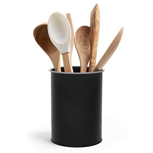 VonShef Utensil Holder Pot Matte Black – Kitchen Storage – Worktop Tidy Container