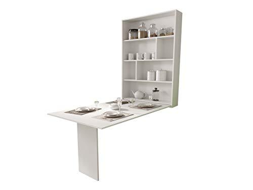 Mirjan24 Wandtisch Albi, Wandklapptisch mit 2 Regalen, V-Tisch, Esstisch, Tisch ideal für Esszimmer, Küche, Klapptisch, Bartisch (Weiß)