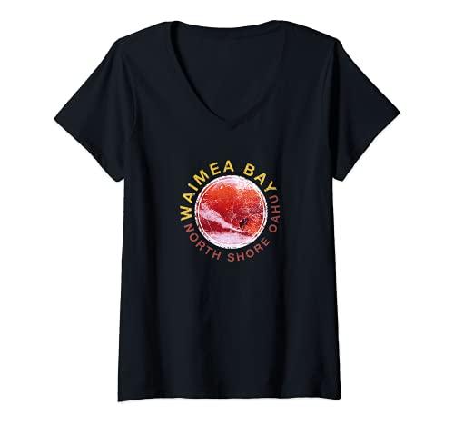 Mujer Hawaii Waimea Bay - diseño de surf Hawaiana Camiseta Cuello V