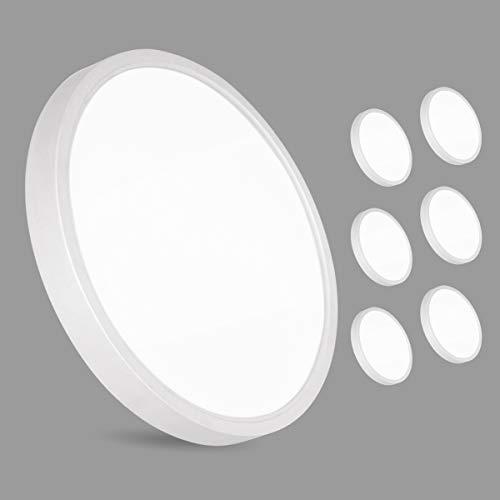 6er 36W LED Deckenleuchte, bapro Deckenlampe Bad 2200LM 3000K Warmweiß Mordern Badezimmerlampe für Badezimmer Küche Wohnzimmer Balkon Flur Schlafzimmer Büro