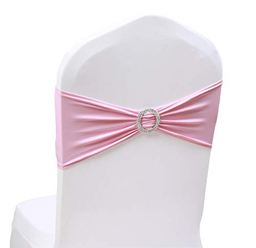 100PCS Stretch Wedding Chair Bands With Buckle Slider Sashes Bow Decorations 10 Colors (Pink)