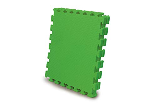 Jamara 460420-Alfombra Puzzle 50 x 50 cm 4pz. -Sistema de conexión fácil, Antideslizante, Lavable, Resistente, Color Verde (460420)