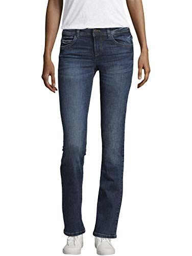 TOM TAILOR Damen Alexa Straight Jeans, Mid Stone Wash Denim, 28W / 34L