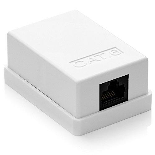 deleyCON 1x CAT 6 Netzwerkdose 1x RJ45 Buchse Aufputz Montage 1 Gbit Ethernet Netzwerk LAN Dose RAL 9003 Weiß