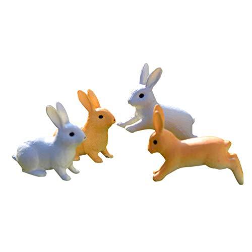 Milisten 4 Figuras miniaturas de Conejo de Pascua, Conejo de Resina, pequeños Animales para Adornos de jardín de Hadas, decoración de Paisaje, terrario suculento Bonsai