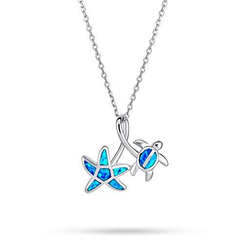 Creado Azul Náutico Opal Inlay Estrella Del Mar Colgante Collar De Tortugas Para Mujer Para Adolescente 925 Plata De Ley