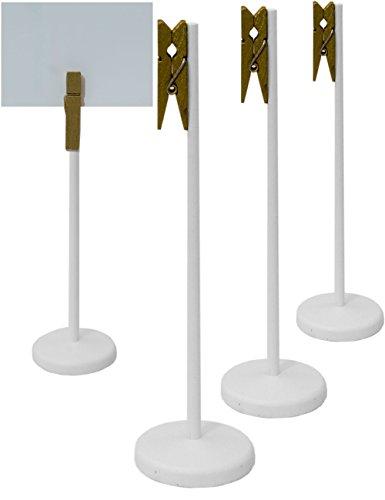 hometools. EU–4x mesa pizarra madera Clip con pinza y Stand de soporte   Buffet, Fiesta, Fiesta, Boda, Decoración, acabado vintage rústico, color blanco, Juego de 4