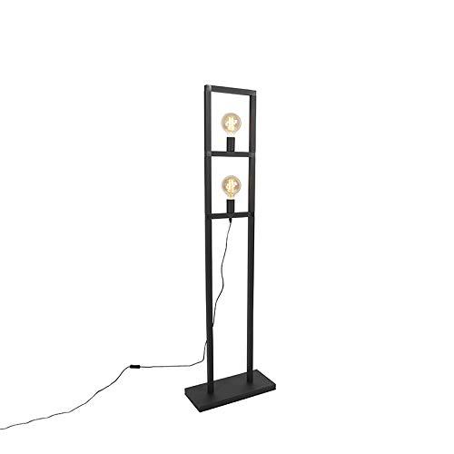 QAZQA Industrieel Industriele vloerlamp zwart 2-lichts - Simple Cage 2 Aluminium/Staal Rechthoekig Geschikt voor LED Max. 2 x 60 Watt