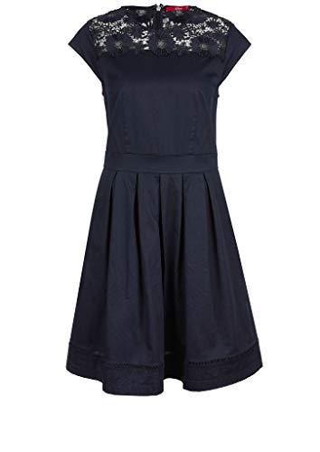 s.Oliver Damen Kleid mit Spitzen-Passe Navy 40